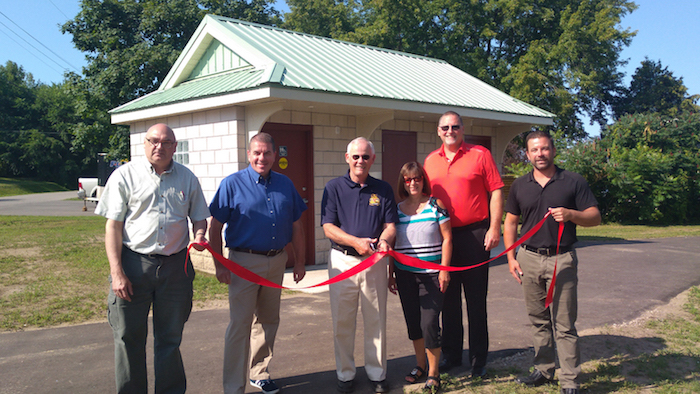 ribbon cutting ceremony for new washroom facility at Albert Street Park